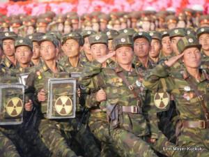 Soldaten der Nukleartruppen auf der Militärparade in Pjöngjang